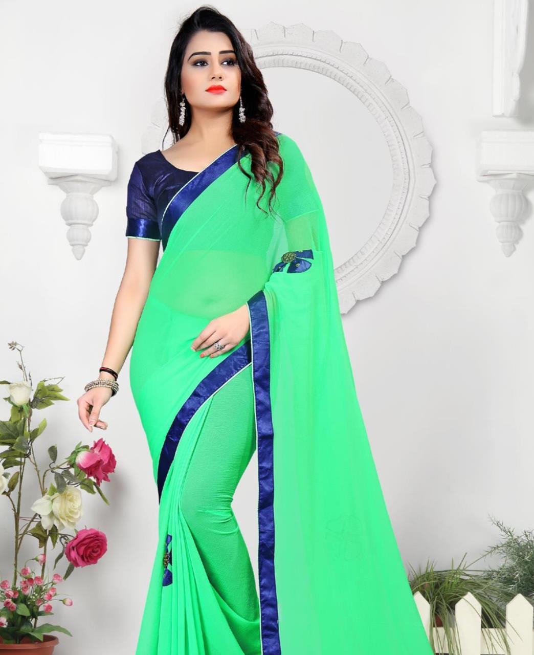 Lace Chiffon Saree (Sari) in Green