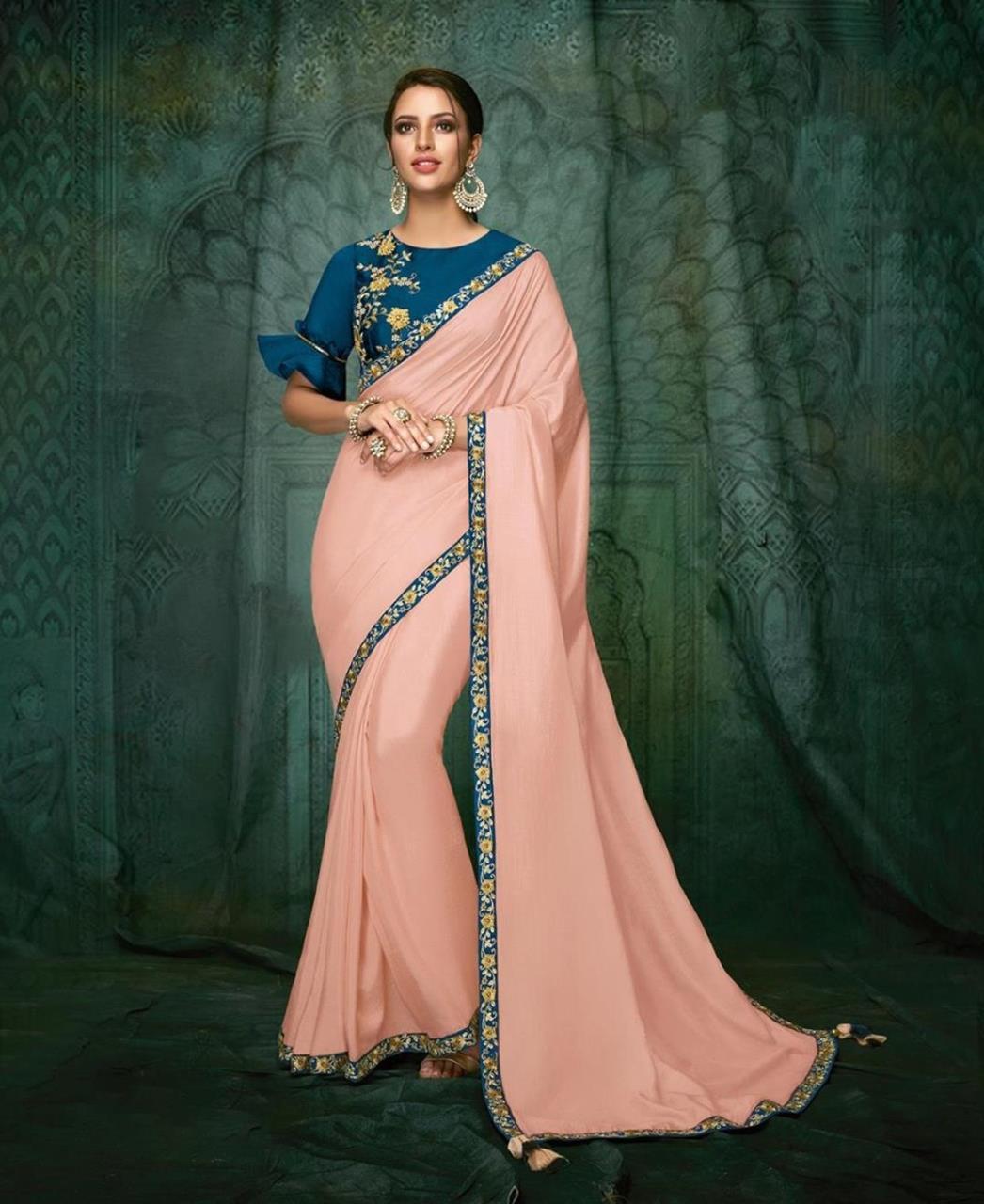 Embroidered Satin Saree (Sari) in  Pink
