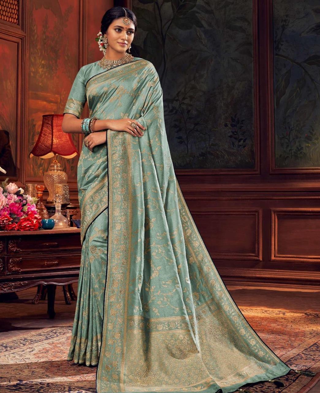 Silk Saree in Steel Blue
