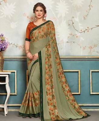 Printed Chiffon Saree in Green