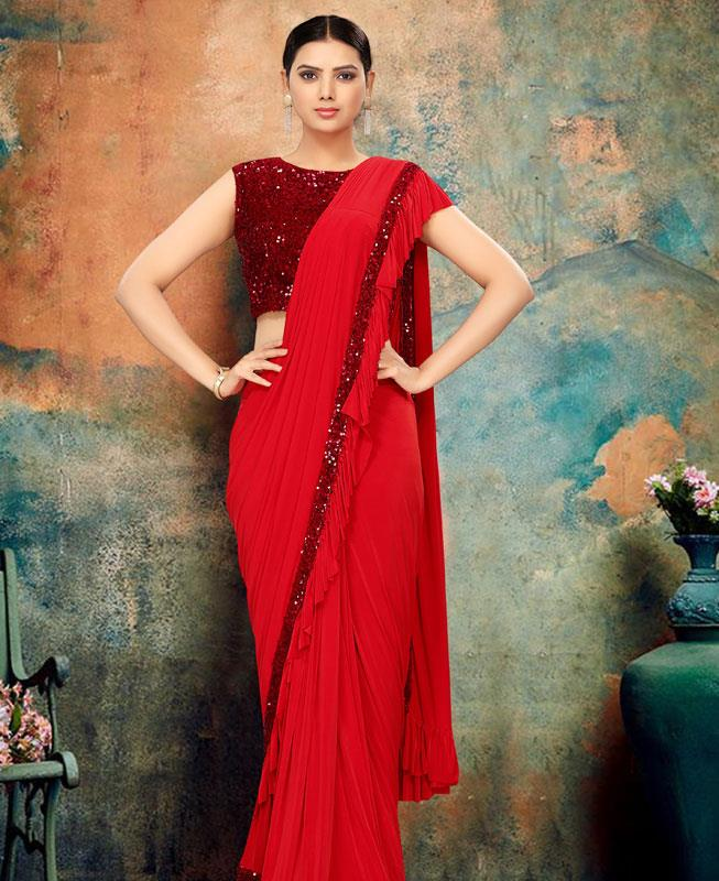 Chiffon Saree in Red