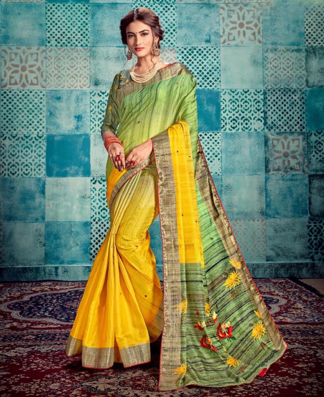 Printed Silk Saree in Yellow  ,  Green