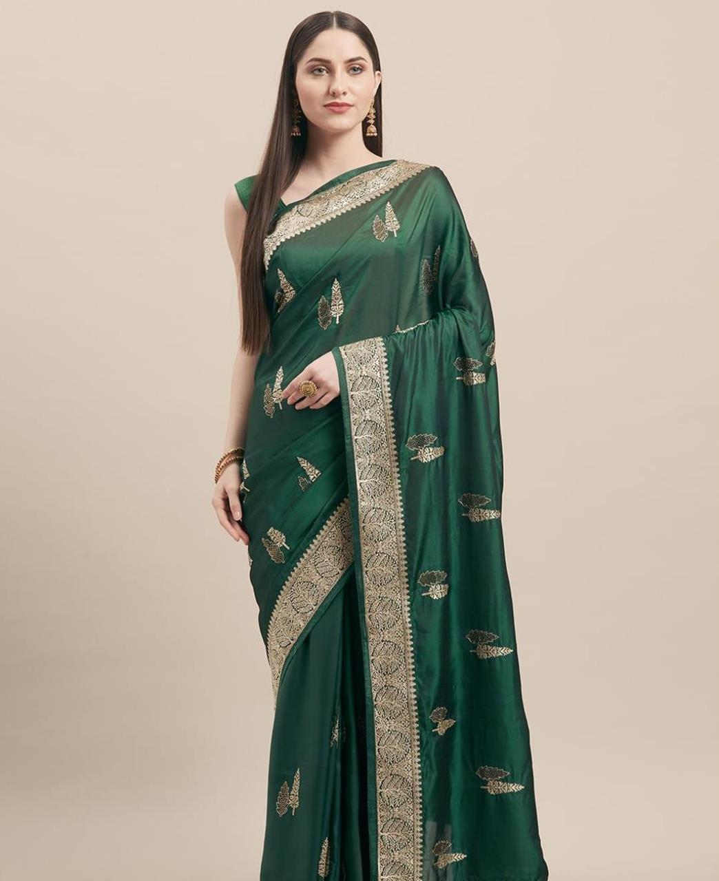Embroidered Georgette Saree in Bottle Green