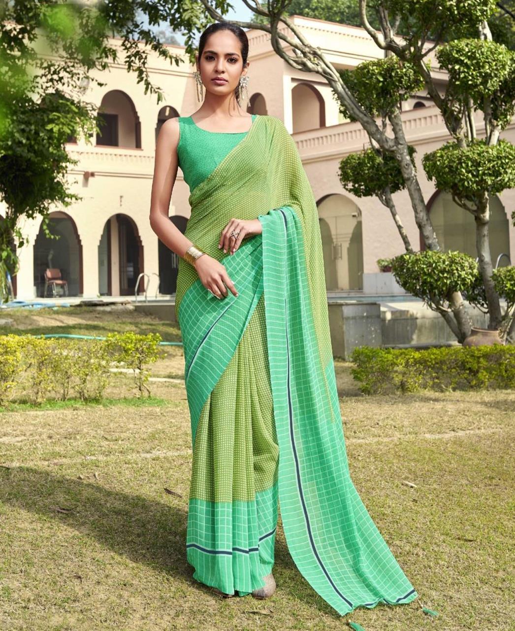 Printed Georgette Saree in Green
