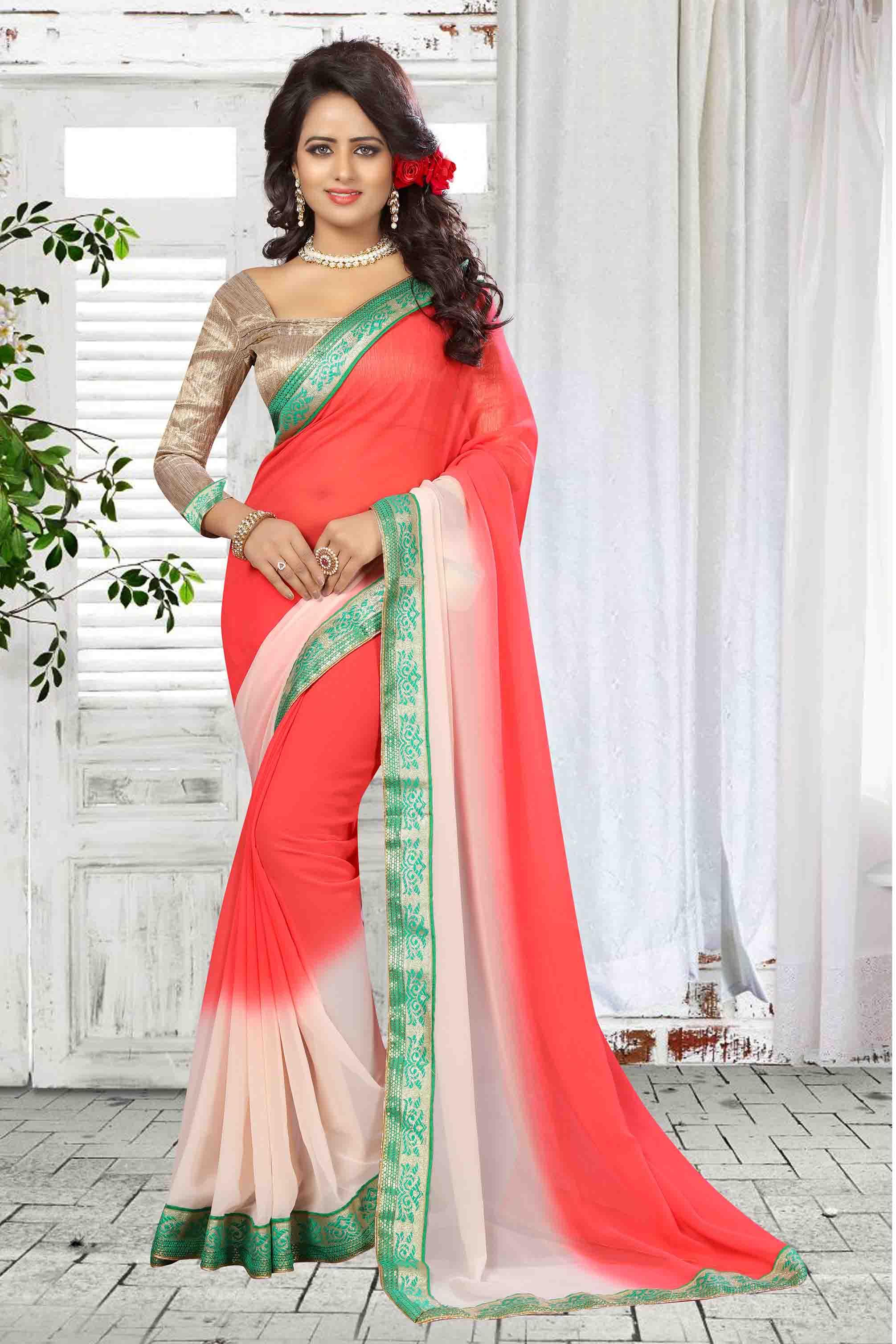 Border Work Georgette Saree (sari) in Pink