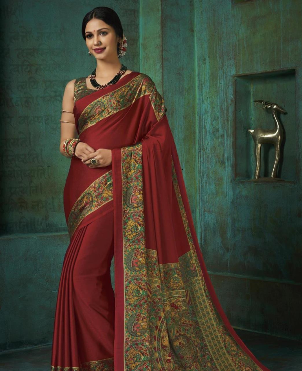 Printed Silk Saree in Maroon