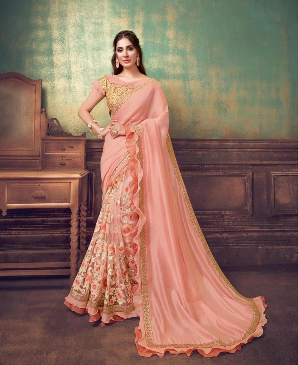 Sequins Silk Saree in Peach