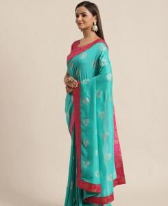 Printed Silk Saree in Sky Blue