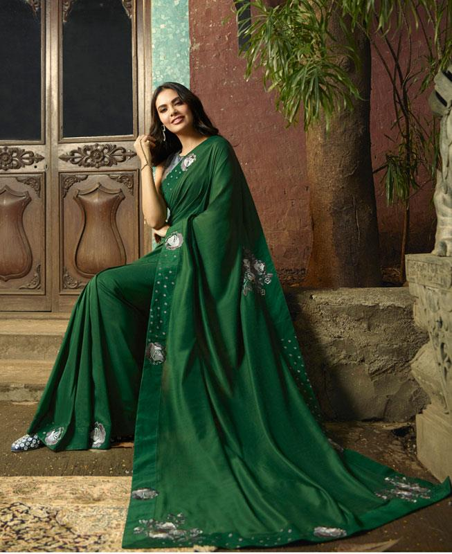 Embroidered Silk Saree in Green