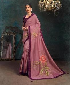 HandWorked Georgette Saree in Onion Pink