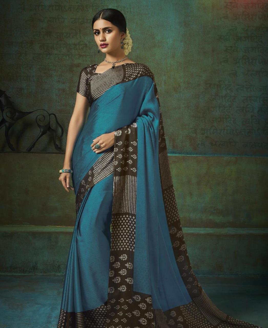 Printed Silk Saree in Teal
