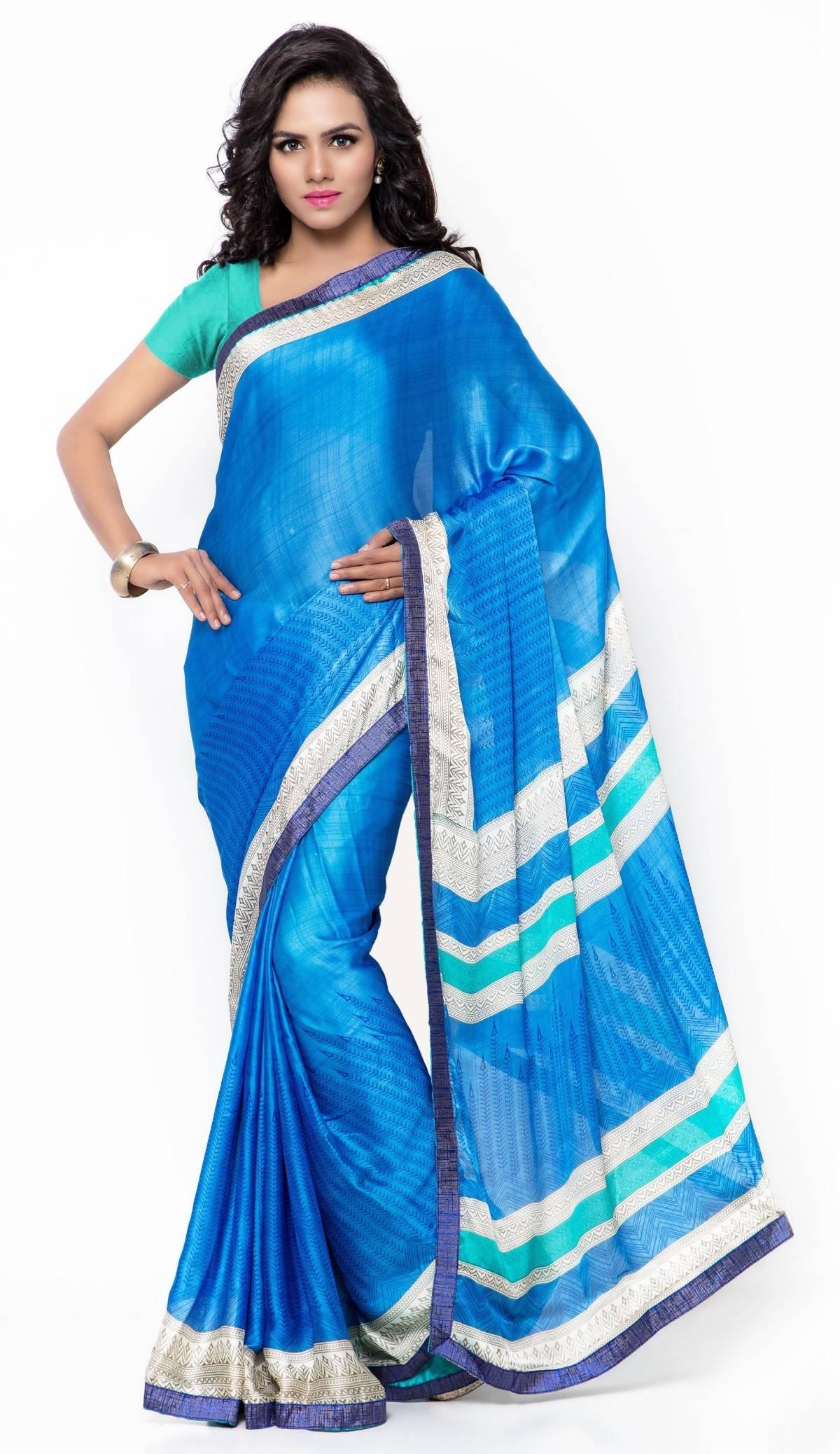 Printed Faux Georgette Saree (Sari) in Blue