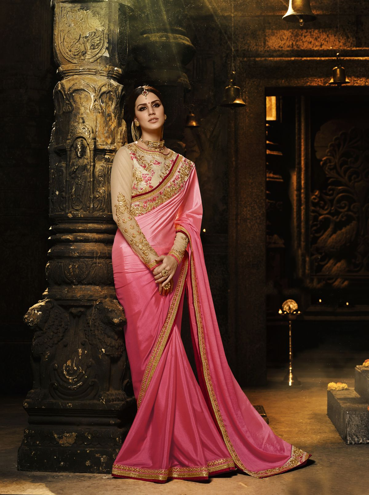 Embroidered Silk Saree in Pink