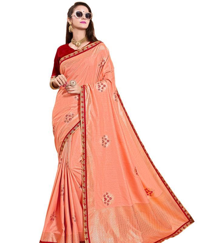 Printed Silk Saree in PeachPuff