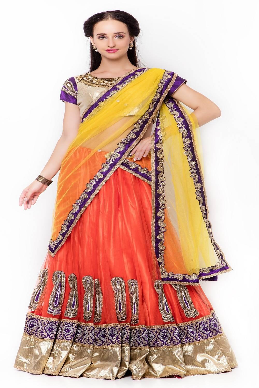 Embellishments Net Saree (Sari) in Yellow