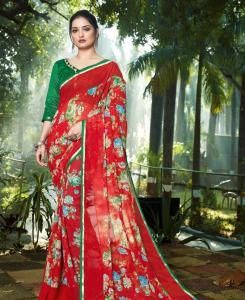 Lace Chiffon Saree in Maroon