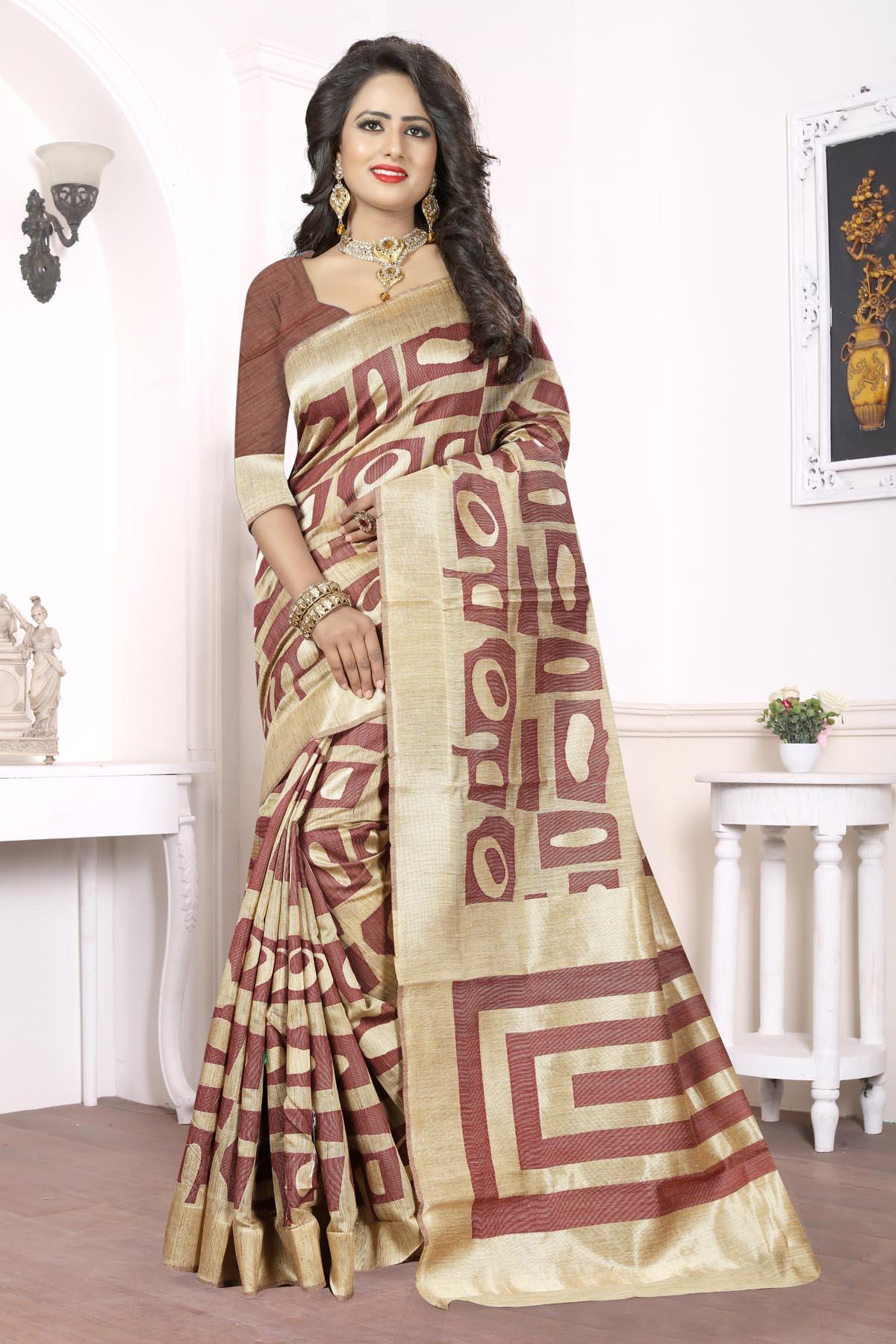 Printed Art Silk Saree (sari) in Brown