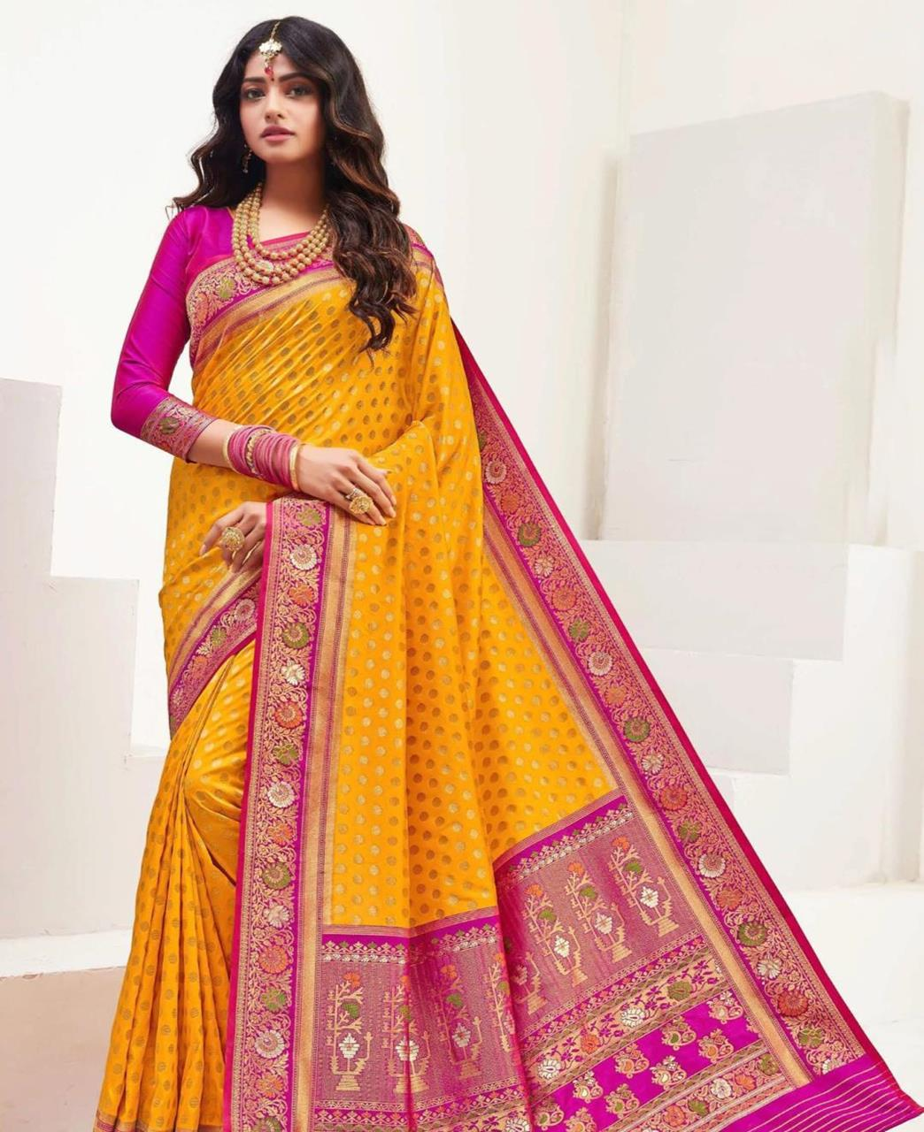 Printed Silk Saree in Mustard