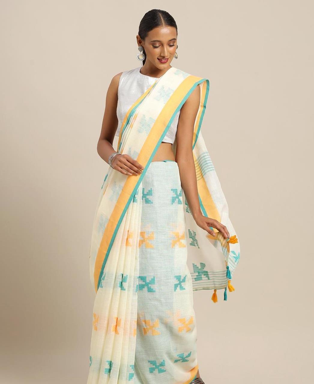 Cotton Saree in Off- White