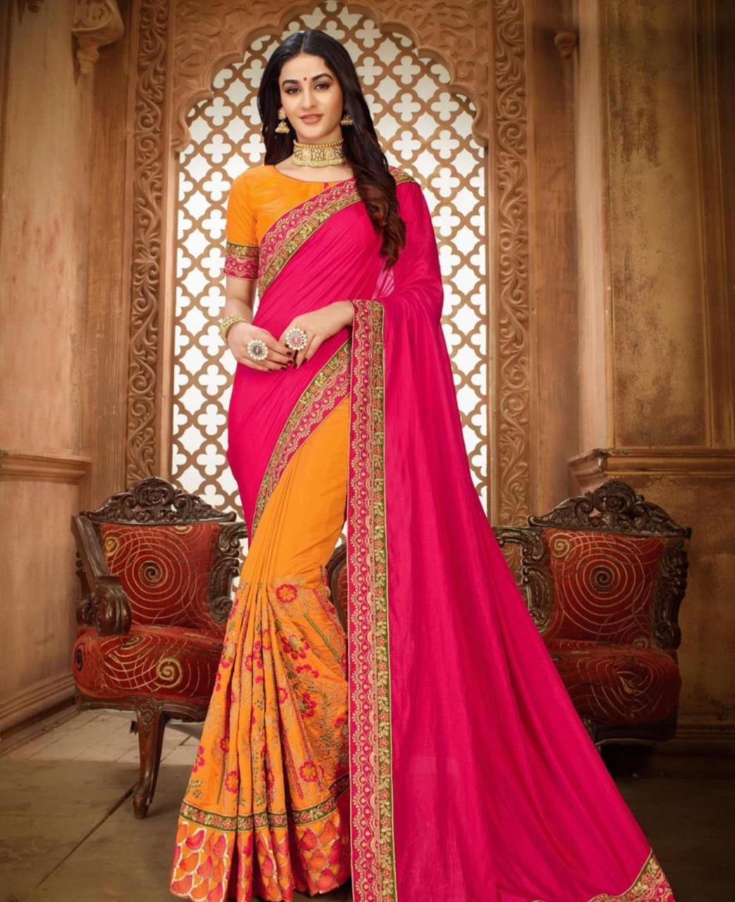 Embroidered Silk Saree (Sari) in Pink