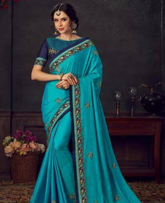 Embroidered Silk Saree in Blue