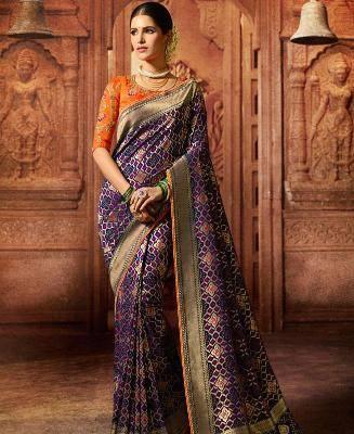 Woven Silk Saree in Blue