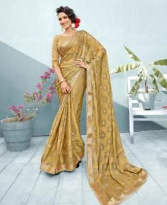 Lace Chiffon Saree in Gold