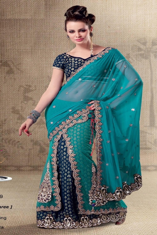 Embroidered Net Saree (Sari) in Blue