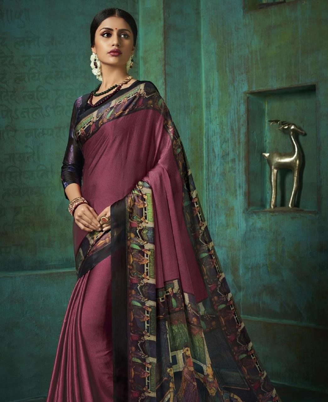 Printed Silk Saree in Dusty Pink
