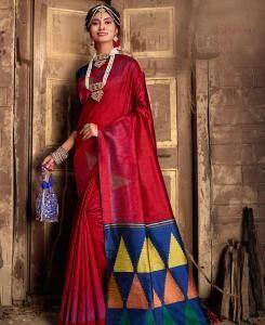 Printed Silk Saree in Red