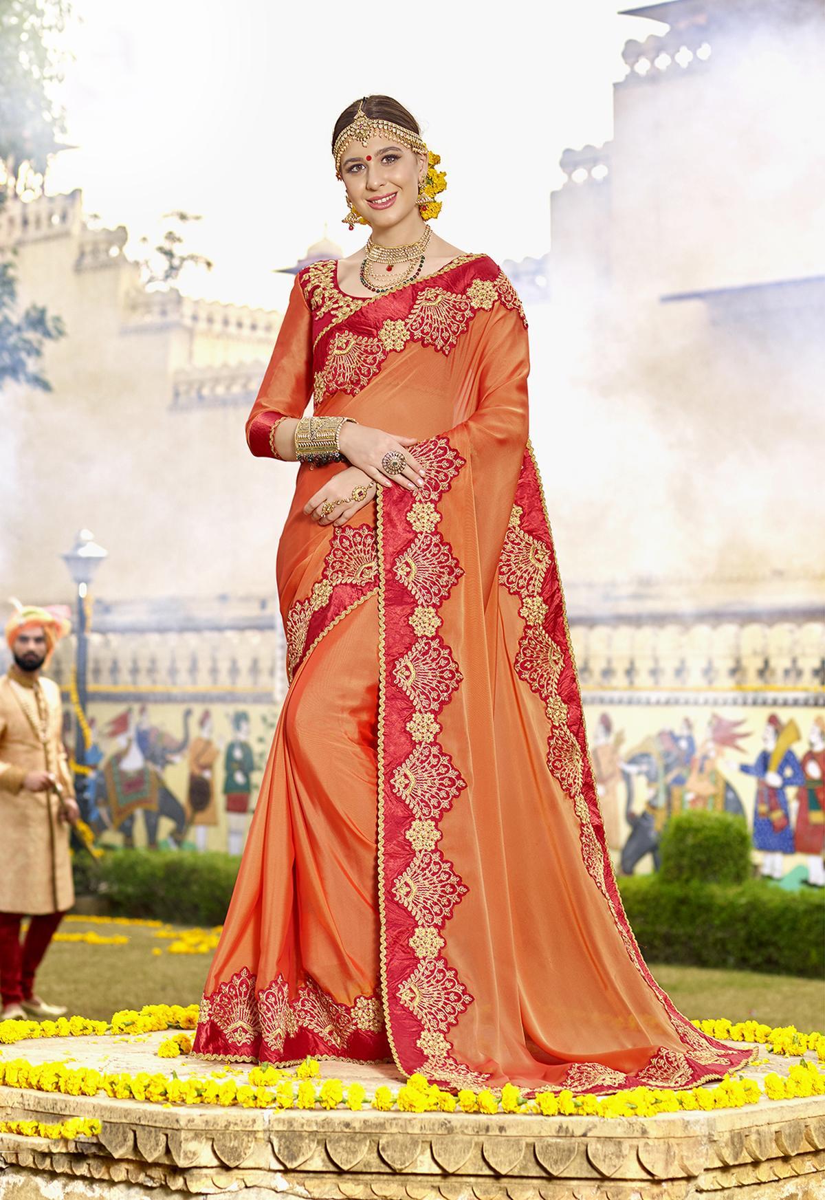Embroidered Silk Saree in Orange