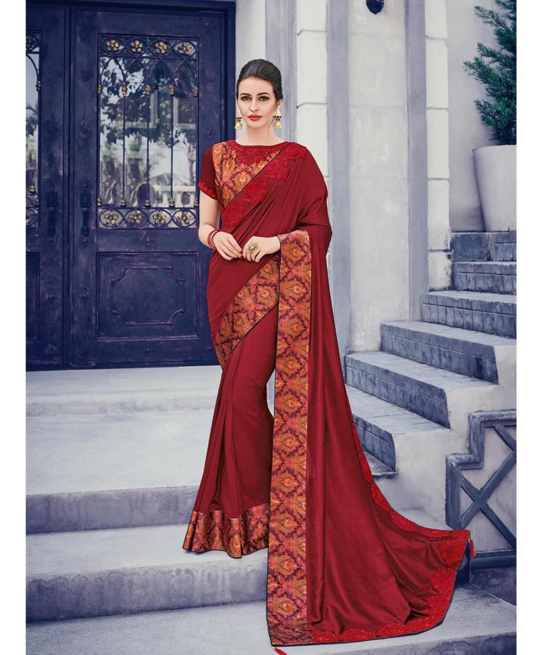 Border Work Silk Saree (Sari) in Maroon