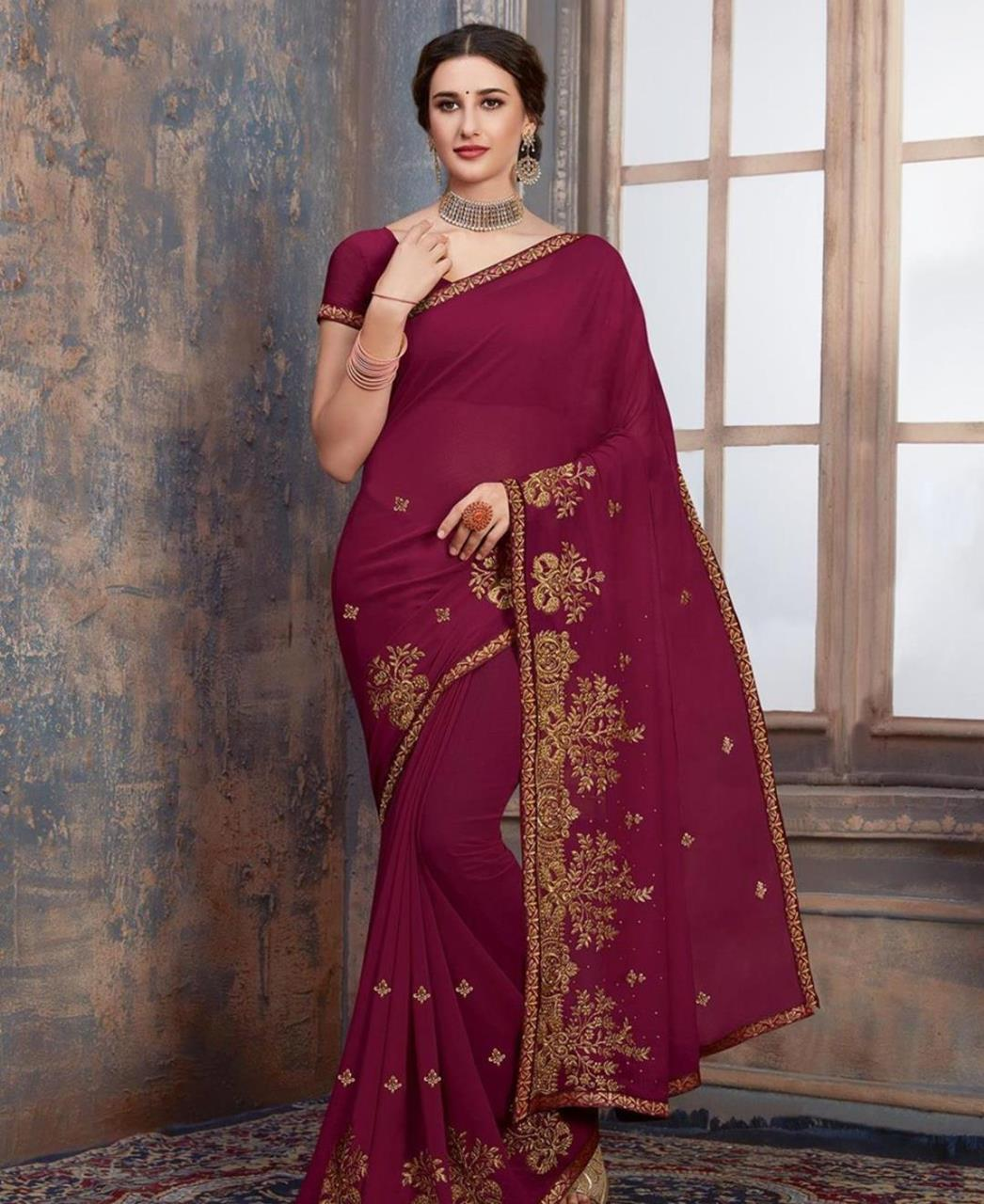Stone Work Georgette Saree in Magenta Pink