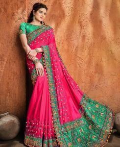 Resham Satin Saree in Rani Pink