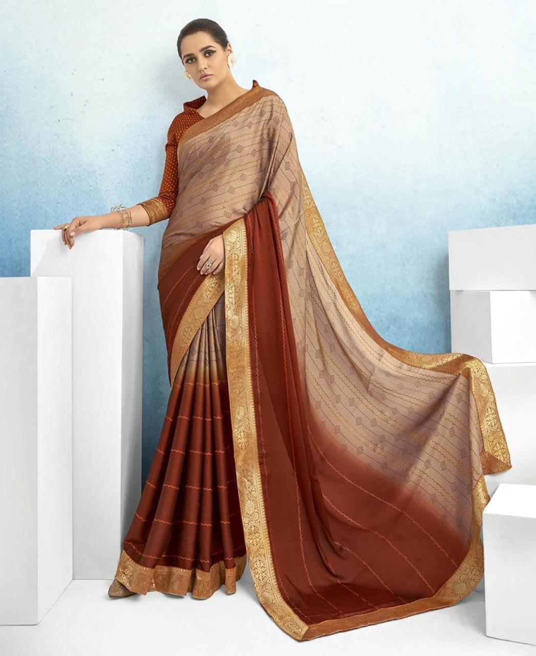 Lace Chiffon Saree in Beige  ,  Brown