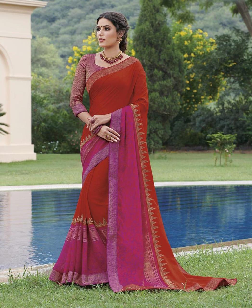 Brasso Saree in Red  ,  Pink