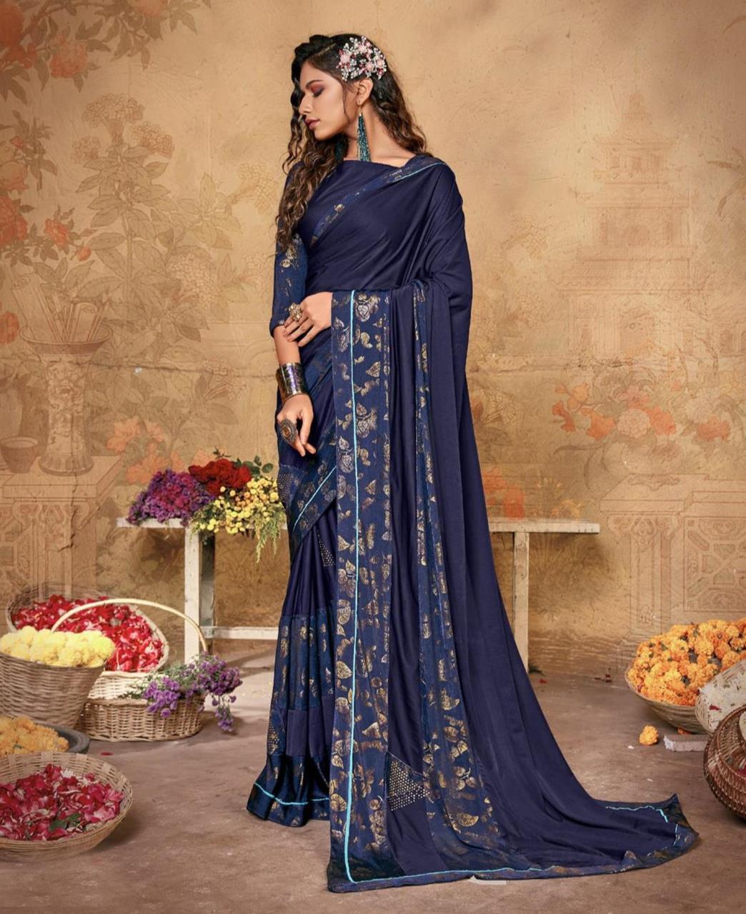Printed Lycra Saree in Blue