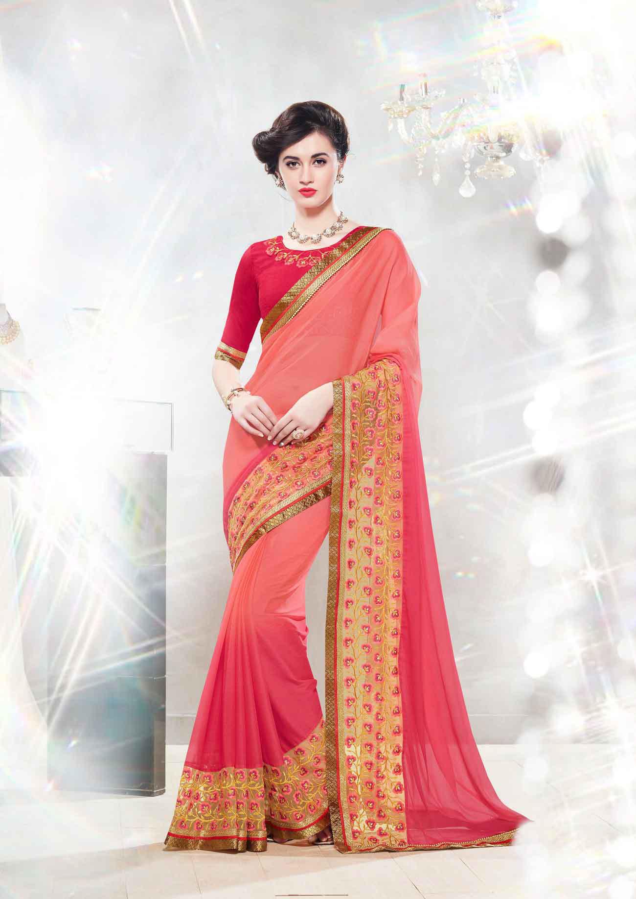 Embroidered Faux Georgette Saree (sari) in PeachPuff