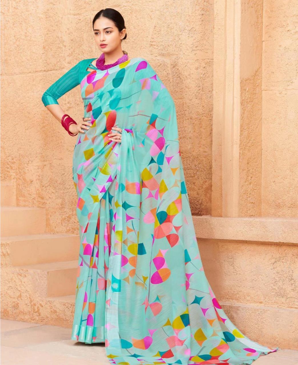 Printed Cotton Saree (Sari) in Aqua
