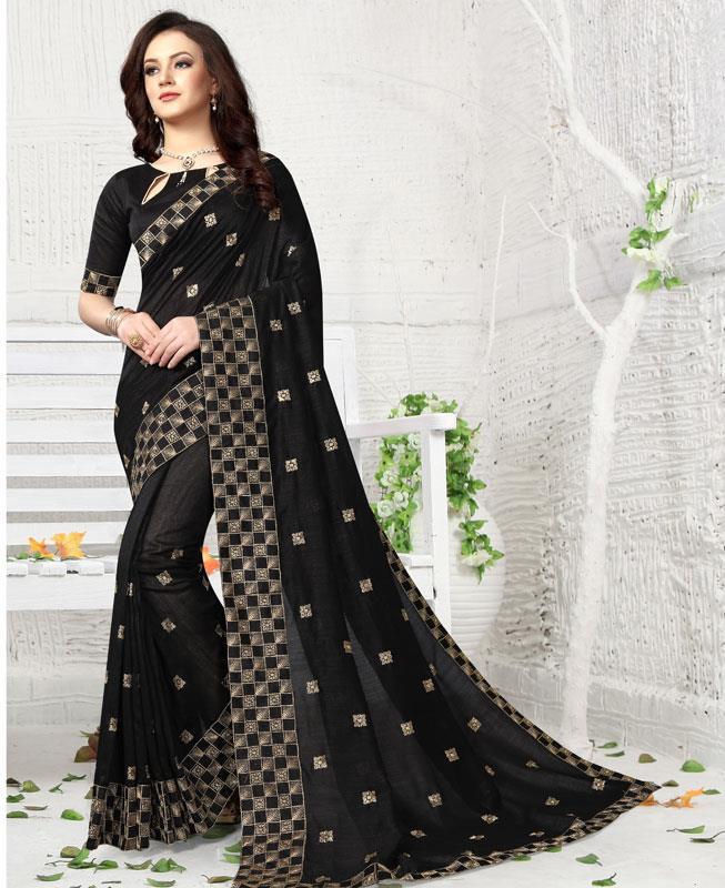 Embroidered Silk Saree (Sari) in Black