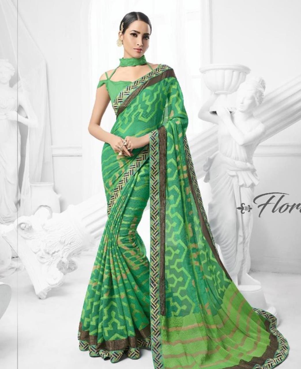 Printed Brasso Saree (Sari) in Green