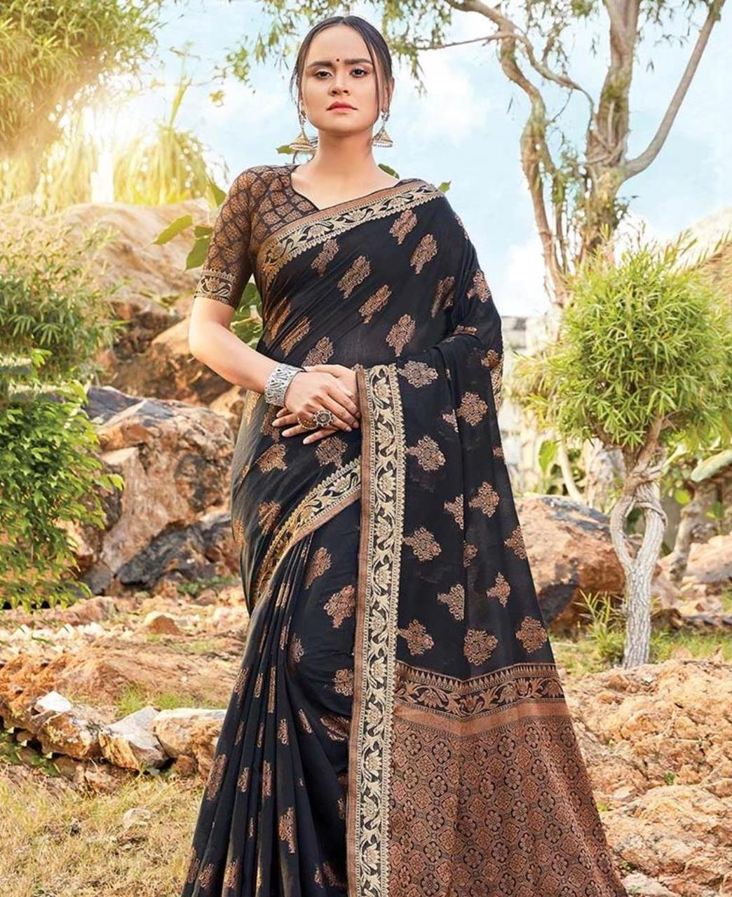 HandWorked Cotton Saree in Black