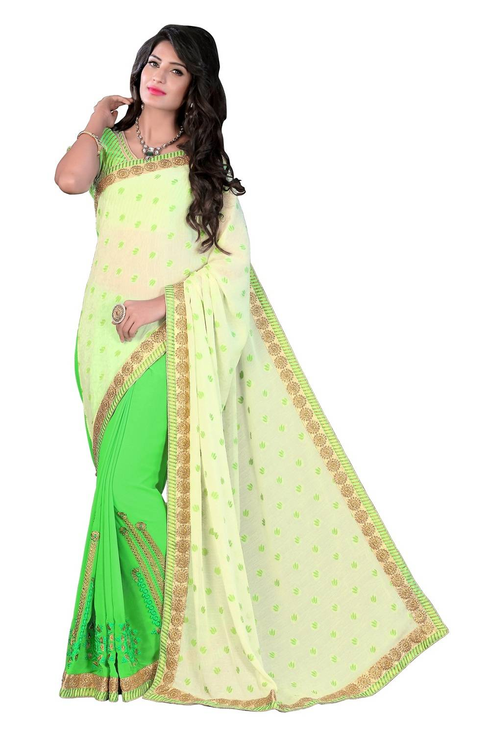 Embroidered Faux Georgette Saree (Sari) in Green
