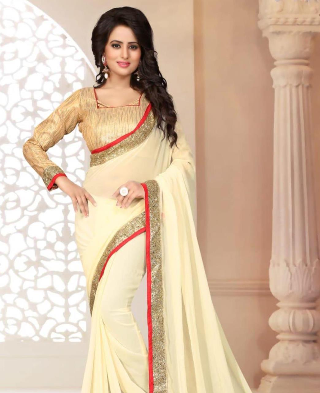 Lace Georgette Saree (Sari) in Cream