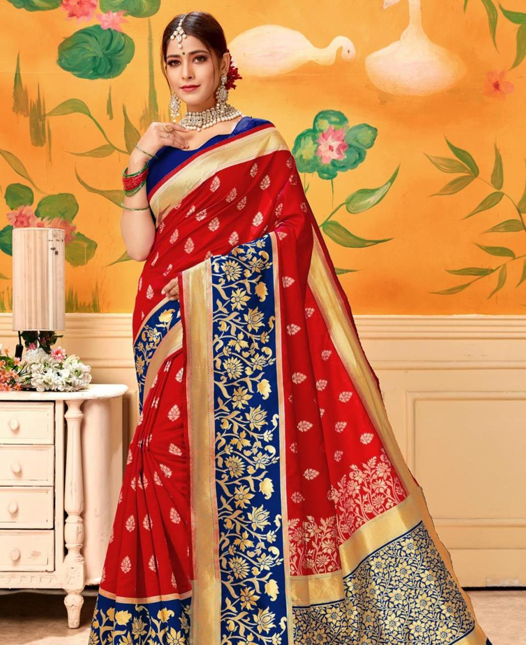 Jacquard Silk Saree in Red