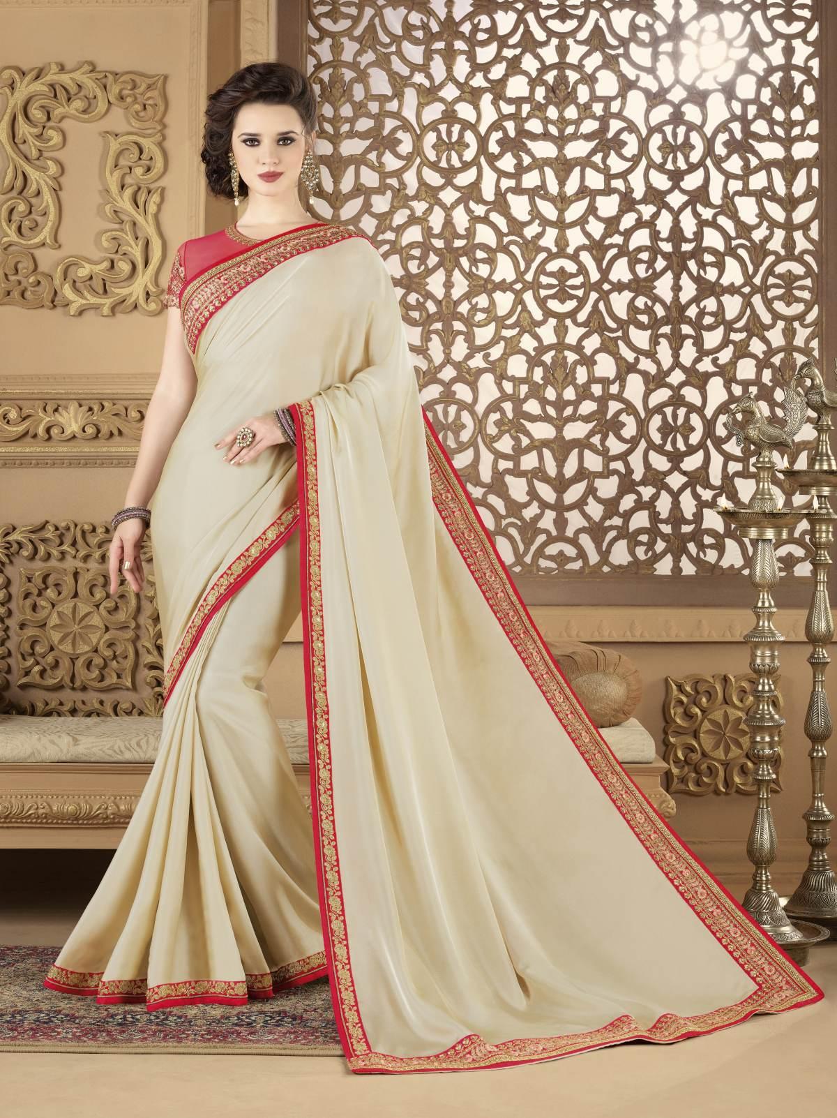 Embroidered Silk Saree (Sari) in Cream