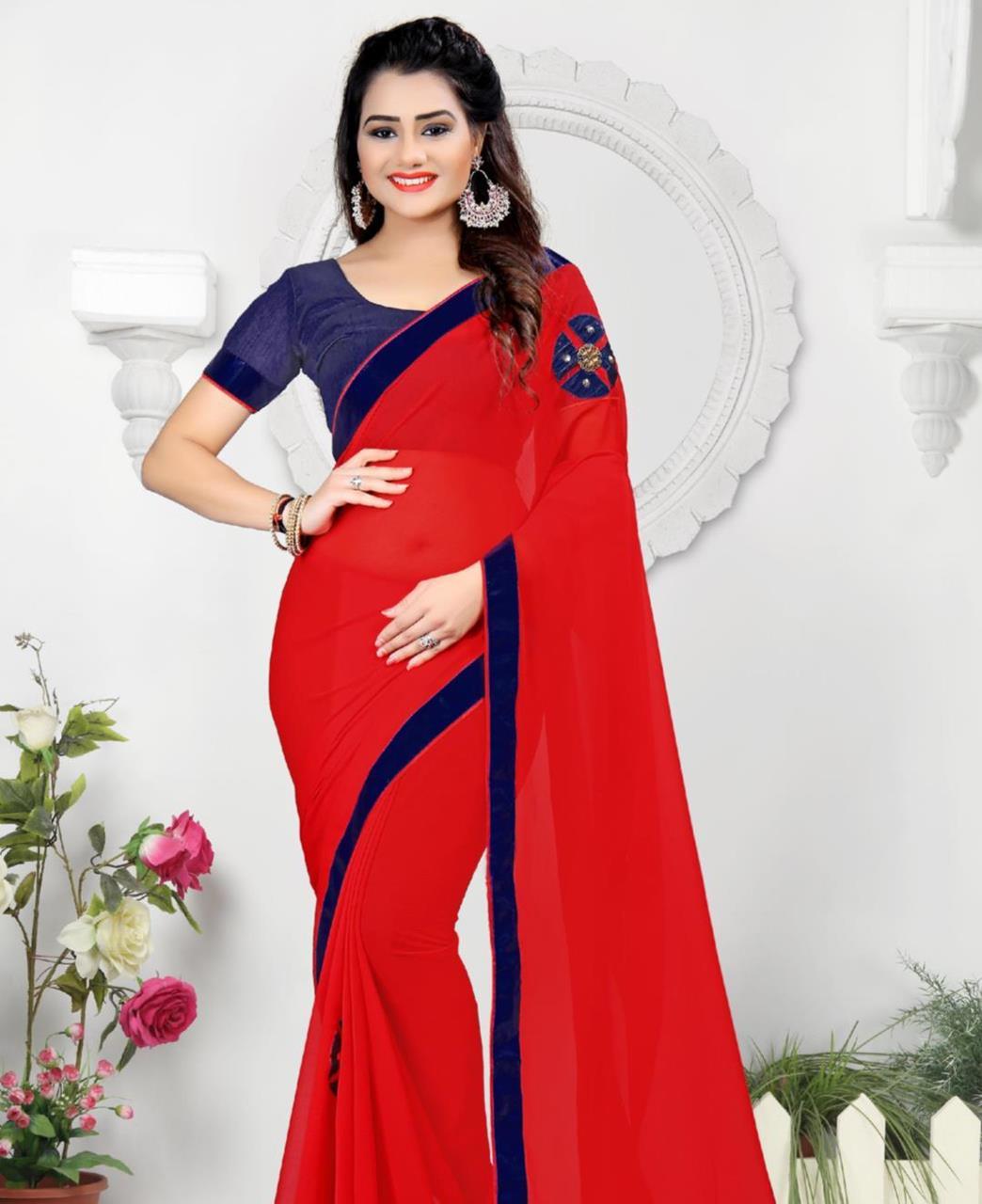 Lace Chiffon Saree (Sari) in Red