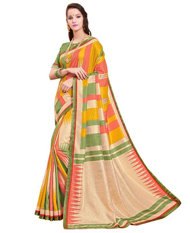 Printed Silk Saree in Yellow