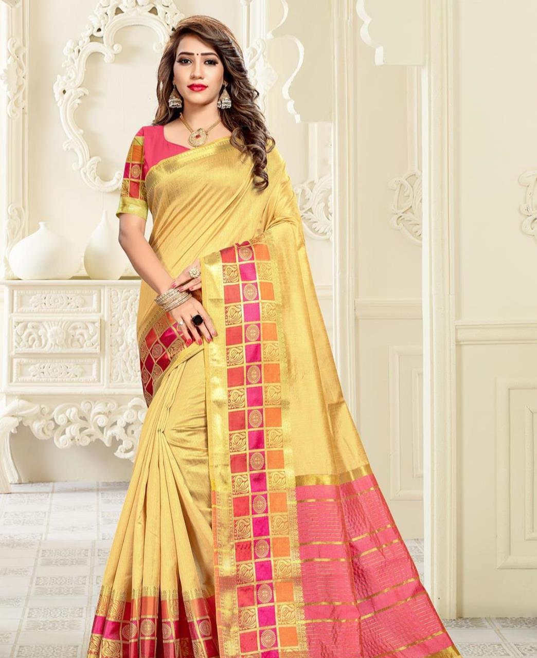 Cotton Saree in Light Yellow