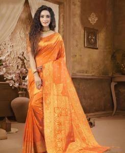 Stone Work Cotton Saree in Orange